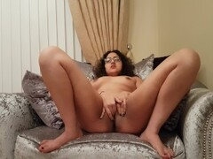 Sexy British babe gives explicit dirty talk JOI playing with shaved pussy Thumb