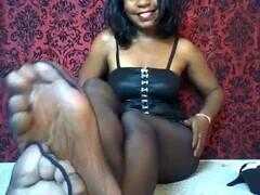 Hot Ebony Femdom Ripped Stockings Foot & Soft Soles Tease Thumb