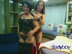Pi Ladyboy giving it to an asian chubby married woman hot intense sex Thumb