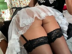 Maid Francesca gets over the knee bare bottom spanking till her tushy red Thumb