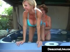 Busty Cougars Deauxma & Brook Tyler Pussy Fuck Their Mature Muffs! Thumb