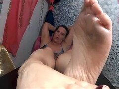 Smoking Cigs, Dirty Wrinkled Soles, Foot Tease Thumb