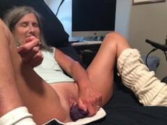 Hot MILF Takes Big Dildo Gets Fucked Big Squirt And Cumshot Mature Granny Thumb