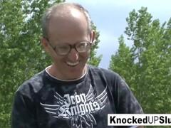 Knocked up slut takes a cock outdoors Thumb
