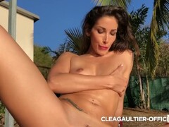 French Clea Gaultier oiled, playing with big dildo Thumb