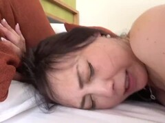 Taboo JAV mature Japanese mother threesome daughter helps via facesitting Thumb