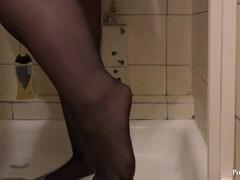 Young plump woman in nylon pantyhose Thumb