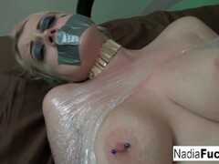 Hot Nadia White is wrapped in plastic and groped Thumb
