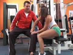 Naughty and Thirsty Babe Jumps on his Dick in the Gym Thumb