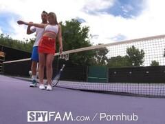 SPYFAM Step Bro Gives Step Sis Flirtatious Tennis Lessons Thumb