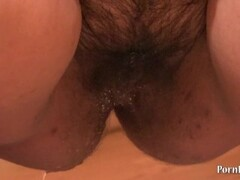 Young plump, hairy by a pussy, piss on her panties and socks Thumb