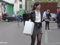 High heels and mini skirt flashing in Moscow by Russian cute woman Thumb