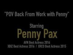 Redhead Penis Pleasuring Penny Pax Spits, Licks, Sucks & Fucks A Hard Cock! Thumb