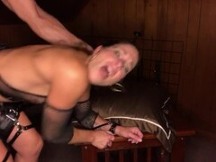 Leather garters pt3: bent over hard pounding and face fucking Thumb