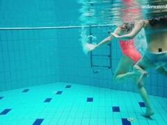 Three girls Avenna, Nina and Marketa naked in the pool Thumb