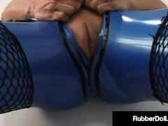 Latex Sex Fiend RubberDoll Dildo Fucks Lesbian Lover Raven Black! Thumb