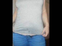 special request very low cut Jeans strip and dildo Thumb