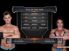 Brandi Mae mixed nude wrestling fight vs Jack Friday gobbling his cock Thumb