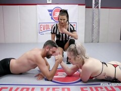 Mixed Wrestler Kaiia Eve arm wrestling before her fight with Jay Thumb