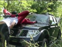Girl Full Encased In Red Latex With Rubber Mask And Gloves Fucked On Car Thumb
