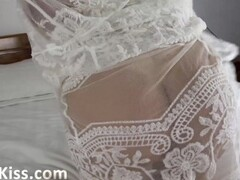Bridesmaids in her Peignoir Blowjob Big Dick and Cum on Natural Tits Thumb