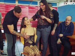 CrowdBondage - Young Romanian Anya Krey Degraded And Abused In Coffee Shop Thumb