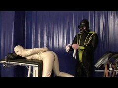 Bondage Rubber Slave Girl In Straightjacket Fucked By Latex Gas Mask Dom Thumb