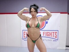 Brandi Mae CBT during mixed naked wrestling fight then pegging the loser Thumb