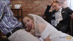 HUNT4K. Cute teen bride gets fucked for cash in front of her groom Thumb